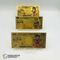 Lot 3 x Billet de 10000 Yen Dragon Ball Z DBZ Gold / Carte Card Carddass / Goku