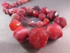 Fuchsia Striped Agate Faceted Graduated Round-Nuggets Beads 21pcs