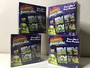 lot of 4 Shrek Puzzles 150 Pc With 1 Sticker 1 Poster In Each Sealed Box collect