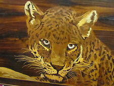 Stunning ARTS & CRAFTS Leopard Marquetry wood panel MOP inlaid Ubiquitous gaze