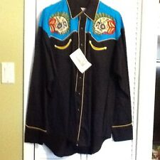 Rockmount Men's Pearl Snap Western Shirt Embroidered Sugar Skull Roses 2 Tone L