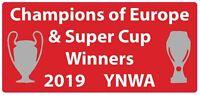 Liverpool FC UEFA Champions League & Super Cup winners 2019 vinyl sticker decal