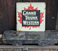"Vtg Grand Trunk Western Railroad Sign 3""x3"" Metal 1950's Post Cereal Train Promo"