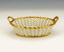 More details for antique meissen porcelain - flower & gilded decorated woven basket dish