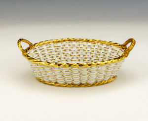 Antique Meissen Porcelain - Flower & Gilded Decorated Woven Basket Dish