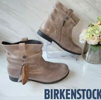 Birkenstock Sarnia Slouch Ankle Boot Mud Brown Distressed Leather EU 37 US 6-6.5