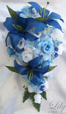 17pcs Wedding Cascade Bridal Bouquet Silk Flower Teardrop DARK LIGHT BLUE WHITE