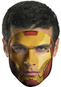 Iron Man Face Tattoo Makeup Superhero Dress Up Halloween Party Costume Accessory