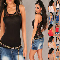 Sexy women clubbing  sleeveless Blouse Lace Back Top Party Shirt Size 6 8 10 12