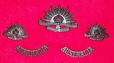 AUSSIE ARMY INSIGNIA SET - RISING SUN BADGES & SHOULDER TITLE- REPRODUCTION PAIR