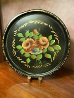Vintage Black Hand Painted Floral TOLEWARE Round Serving Tray FRENCH COUNTRY