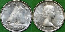 1953 Canada Silver Shoulder Fold Dime Graded as Brilliant Uncirculated