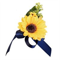 Pin / Shoulder Corsage - Artificial Sunflower with Navy Blue Ribbon