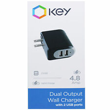 KEY Dual Black and Grey Output 2 USB Port Wall Rapid Charger 4.8Amp
