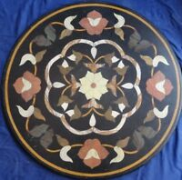 "24"" Marble Coffee Round Table Top Mosaic Work Inlaid Floral Kitchen Decor"