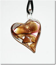 Pendentif coeur penché verre style murano translucide lampwork pendant mode été