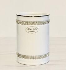 Bella Lux White Ceramic & Crystal Rhinestones Tumbler Holder Bath Accessory.