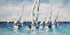 Wandbild Gemälde Leinwandbild handgemalt Segelboote blau 60x150 cm