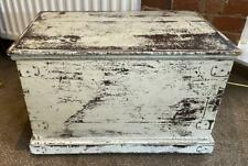 Vintage Wood Blanket Box / Storage Trunk Ottoman Coffee Table Chest - White