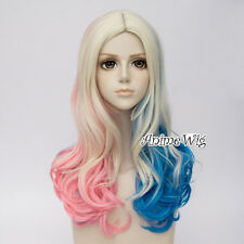 Light Blonde Mixed Blue Pink Halloween Cosplay Wig Curly Long For Harley Quinn