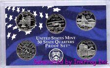 2001 S Clad 5 Coin State Quarter Gem Proof Set NO BOX/COA