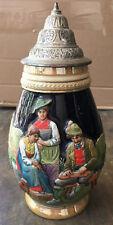 """Vintage German 1 Liter Pewter Lidded Stein Auf Der Alm Do Gibt's Koa Sund 10.5"""""""