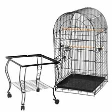 "63""H Rolling Bird Cage for Small Parrot Cockatiel Parakeet w/Open Play Top Home"