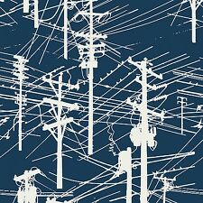 Telephone Wires Poles Connect Navy By the yard Me + You and Modern Quilt Guild