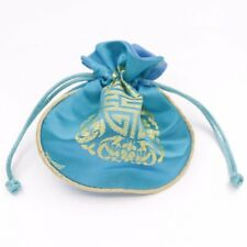 1 PCS Blue Man-made Silk Cloth Jewelry Gift Bag Pouch Drawstring Pouches 11-12cm