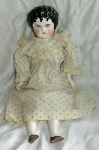 "16"" Black Curly Top China Doll Cloth Body Porcelain Hands Feet Sewn Pantaloons"