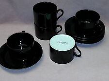 Fitz & Floyd 10 pcs Cups Saucers Total Color Black (Round, Smooth) - Japan