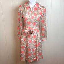 Size S/M Vintage 70s/80s V Neck Knit Fit & Flare Floral Print Shirt Dress