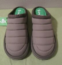 Sanuk Puff N Chill Low Gray Slip On Slippers Nylon Puffer Style NWT Mens US 9