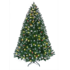 M229 Benross Liverpool 7 Feet Frosted Pre-Lit Berry Christmas Tree
