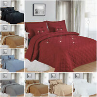 5 Piece Quilted Bedspread Throw Embossed Bedding Set Single Double King Size