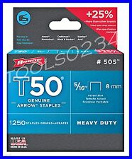 """Genuine Arrow Staples T50  5/16"""" 1,250 Box #505  MADE IN USA Free Shipping"""
