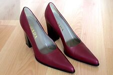 PRADA WINE BURGUNDY LEATHER HIGH BLOCK HEELS 37.5 SZ 7.5 PUMPS DRESS SHOES ITALY
