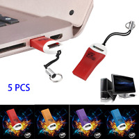 5PCS USB 2.0 Micro SD SDHC TF Flash Memory Card Reader Mini Adapter For Laptop