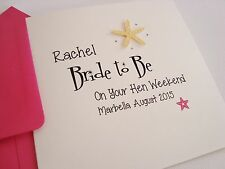 Personalised Hen Night Party Weekend Bride to be Card Starfish