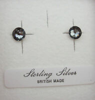 PAIR STERLING 925 SILVER SWAROVSKI ELEMENTS CRYSTAL STUD EARRINGS +SCROLLS & BOX