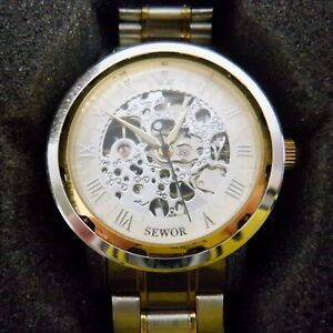 SEWOR Men's Watch Gold Skeleton Mechanical Silver Gold Bling Watch W8331 *NEW*