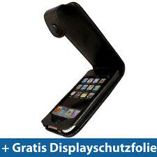 Schwarz Leder Hülle für Apple iPod Touch 2G 3G 2te 3te Gen Tasche Case Skin