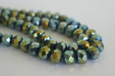 60 pce Tanzanite Metallic Green Electroplate Faceted Abacus Glass Beads 10mmx8mm