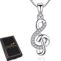 Musik Kette Halskette 925 Sterling Silber Damen ❤ Swarovski® Kristalle ❤ im ETUI