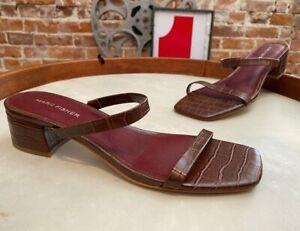Marc Fisher Marsala Croco Embossed Heeled Slide Sandals Caylon New