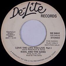 KOOL & THE GANG:  Love The Life You Live '71 De-Lite DJ PROMO Funk Soul 45 VG+