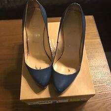 EUC Authentic CHRISTIAN LOUBOUTIN Feticha 120 Women Blue Stilettos Shoes 7 $695