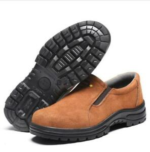 Mens welder Safety Slip On Steel Toe Work Shoes Walking Hiking Welding Boots @BT