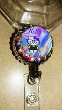 Hello kitty W/ur name bling crystals Retractable Reel ID Badge Holder Nurse Dr