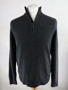 Mens M&S Wool Blend 1/4 zip Jumper Size MEDIUM High neck Sweater Knitted Dark